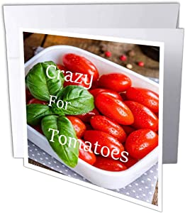 3dRose Lens Art by Florene - Crazy for Different Food - Image of Crazy for Tomatoes On Cherry Tomato Photo - 1 Greeting Card with Envelope (gc_310031_5)