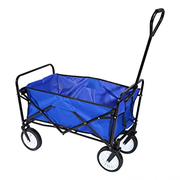 Good Outdoor Collapsible Utility Wagon,Folding Collapsible Garden Shopping Cart  Trolley Trailer Steel Carrier Wheelbarrow,