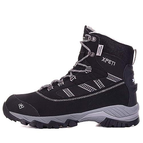 eb416d8b07b XPETI Oslo Men s Winter Hiking Snow Boots Waterproof Black  Amazon ...