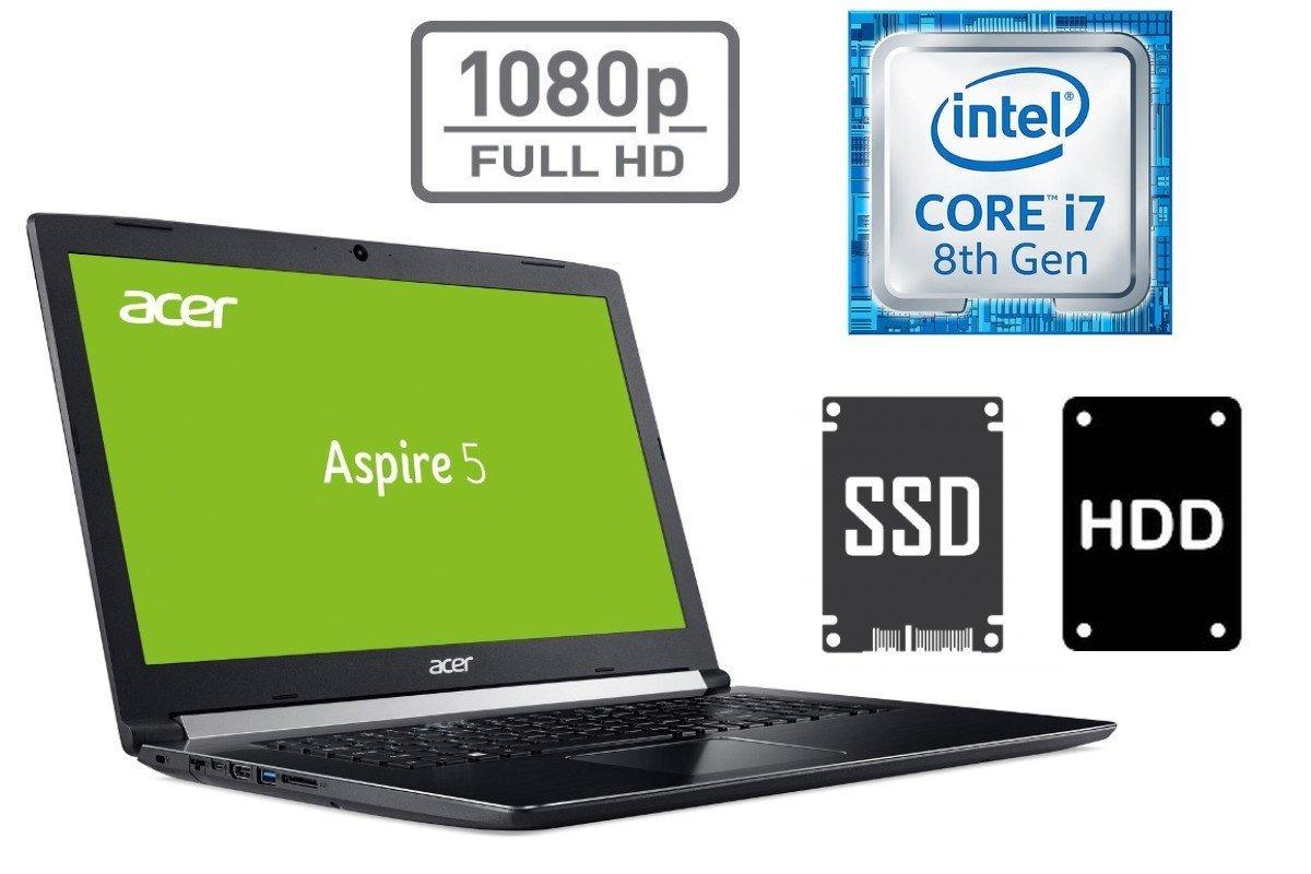 Ordenador Portatil Acer A517 - Core i7 - 8 GB DDR4 RAM - 256 GB SSD + 1TB HDD - Windows 10 Pro - 44 cm (17.3) Full HD Pantalla Mate 20GB RAM - 256GB SSD + ...
