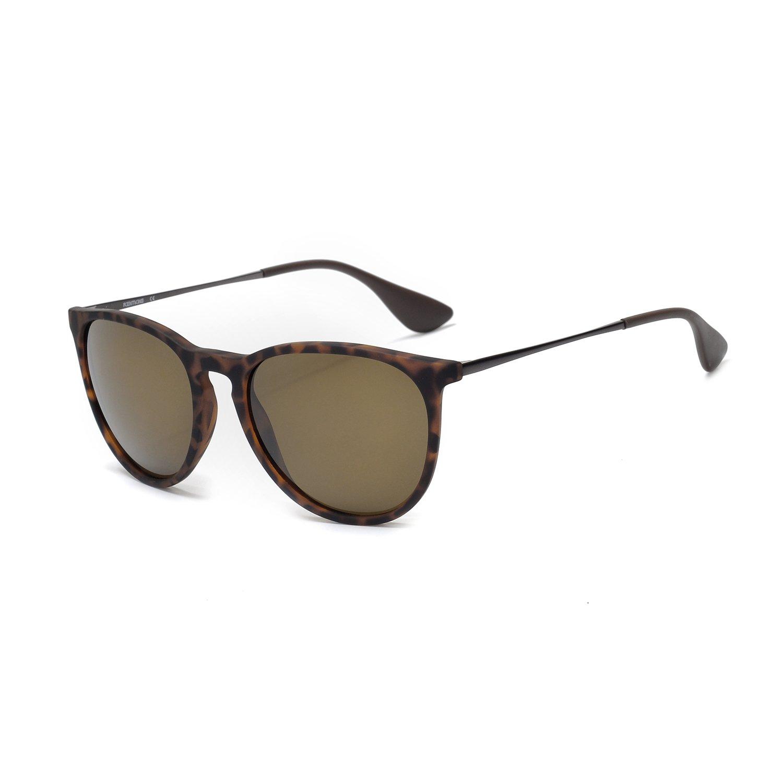 KENTKING Women's Vintage Round Erika Style Sunglasses,Durable Metal Nylon Lens Designer Sunglasses Scratch Resistant (Brown Lens on Matte Tortoise)