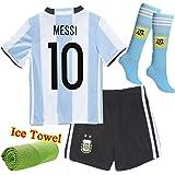 Barcelona Kids Jersey New 2017 Light blue /Black Football Soccer Home Kit Kids Jersey & Shorts & Socks & Free Ice Face Cloth Sportwear Kit