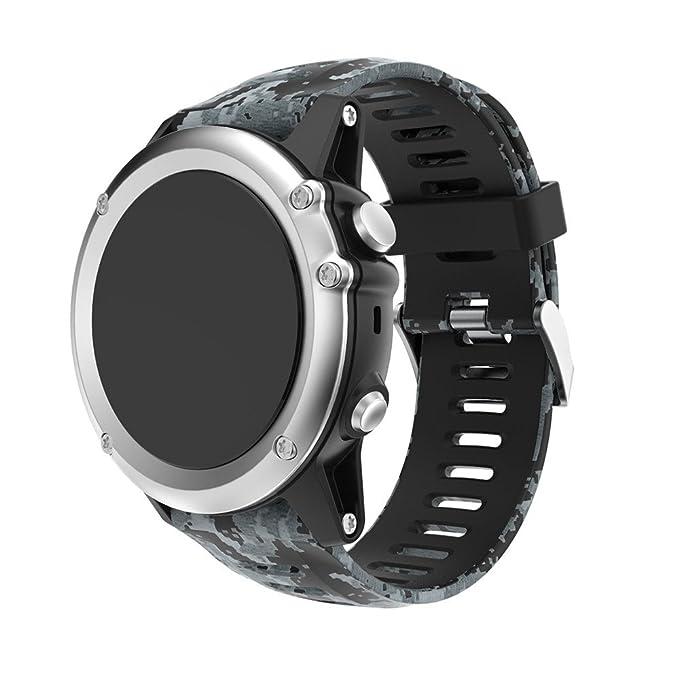 JiaMeng paraGarmin Fenix 3 GPS Watch,Banda de Reloj de Silicona Suave reemplazo Correa de Silicona Suave de Repuesto(A): Amazon.es: Ropa y accesorios