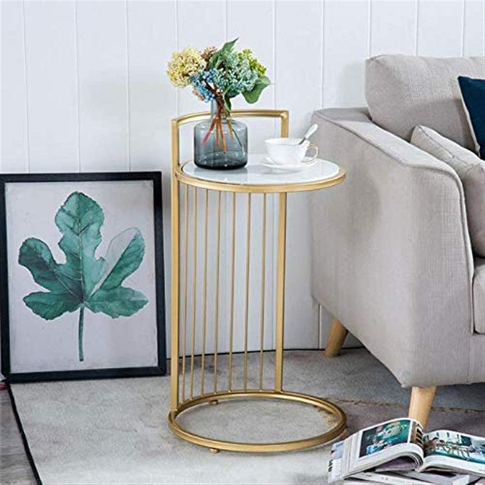 Color : Marble L-Life End Tables Side Table End Tables Side Table Wrought Iron Marble Small Round Side Table Couch Table Nordic Simple Leisure Living Room Bedroom Coffee Table 38 * 70cm