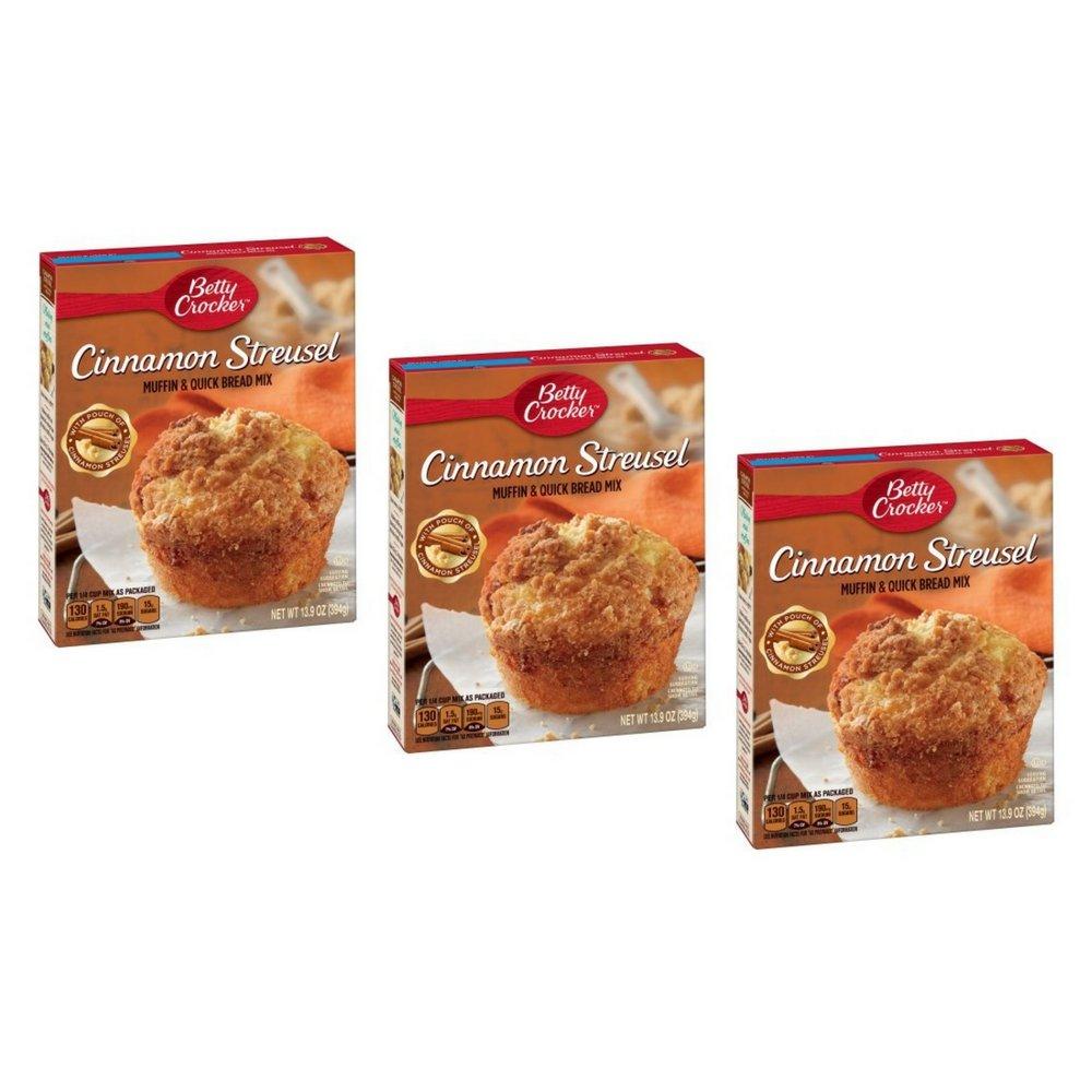 Betty Crocker Muffin & Quick Bread Mix Cinnamon Streusel 13.9 oz Box (3 PACK)