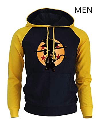 FLAMINGO_STORE Anime Hoodies Clothing Super Saiyan Sweatshirts Men Sportswear Hoody Sweatshirt Yellow Black