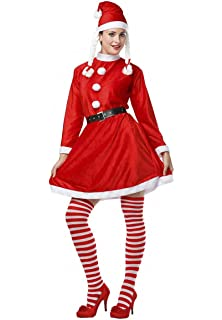 Disfraz de Mamá Noel o Miss Santa Claus para mujer: Amazon.es ...