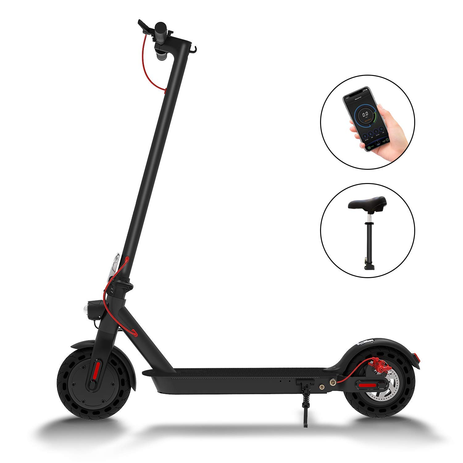 Hiboy S2 Electric Scooter - 8.5'' Solid Tires - Up to 17 Miles & 15.5 MPH Portable Folding Commuting Scooter for Adults with Double Braking System, Rear Suspension and App