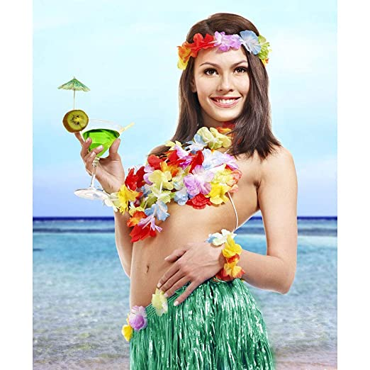 d56d25860b19 Hula Skirt Adult Elastic Hawaiian Dancer Grass Skirt for Girls Plus Size  Costume Green