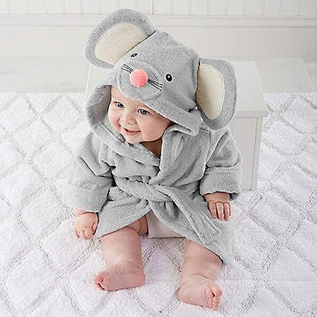 Pijama de bebé de gran calidad, suave, cómodo, con dibujos, toalla de baño con capucha, envoltorio de albornoz, artículos para bebé (s, gris): Amazon.es: Hogar