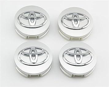 shangmao369 Juego de 4 tapacubos para Toyota de 62 mm de diámetro exterior, color plateado