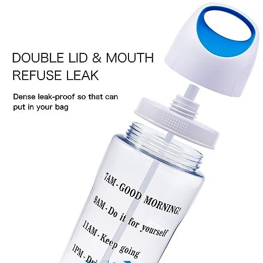 Amazon.com: Botella de agua de 64 onzas con pajita de medio ...
