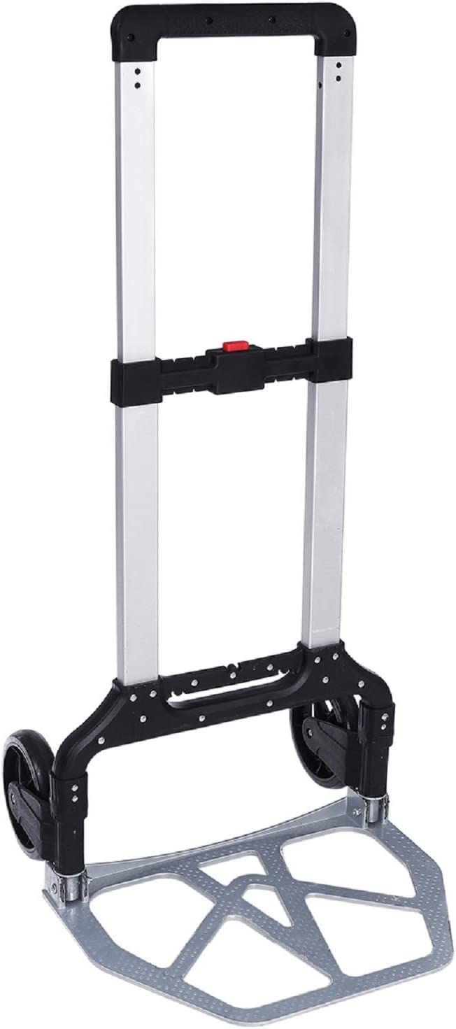 Amazon Com Kingso 330 Lb Folding Hand Truck Heavy Duty Capacity Portable Aluminum Alloy Cart And Dolly For Luggage Travel Office Auto Moving Pvc Wheels With Double Bearings And Adjustable Handle Office Products