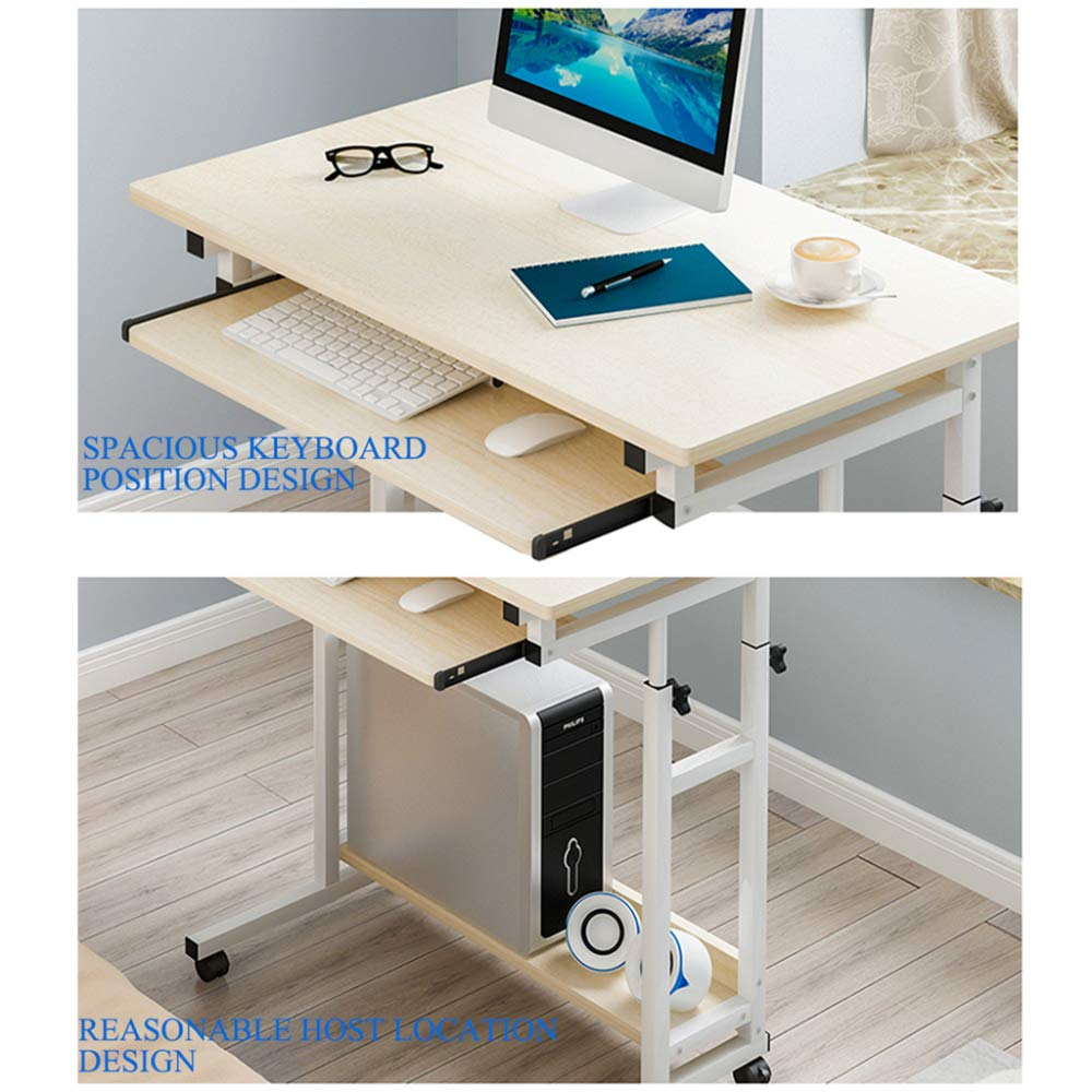 LIULIFE Modern Space Saver Computer Desk Adjustable PC Table Wheels Home Office Furniture, with Sliding Keyboard Board and Host Location,Black by LIULIFE (Image #3)