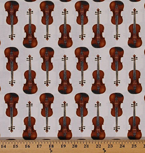 Cotton Violins Musical Instruments Orchestra In Tune Metallic Kaufman Ivory Cotton Fabric Print by the Yard (SRKM-15660-15-IVORY) (Furniture Roberts Discount)