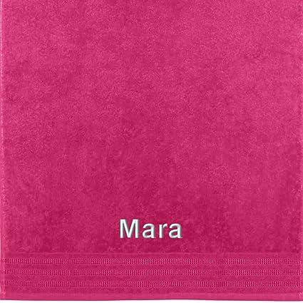 Erwin Müller Toalla con nombres Mara bordado, fucsia, 50 x 100 cm