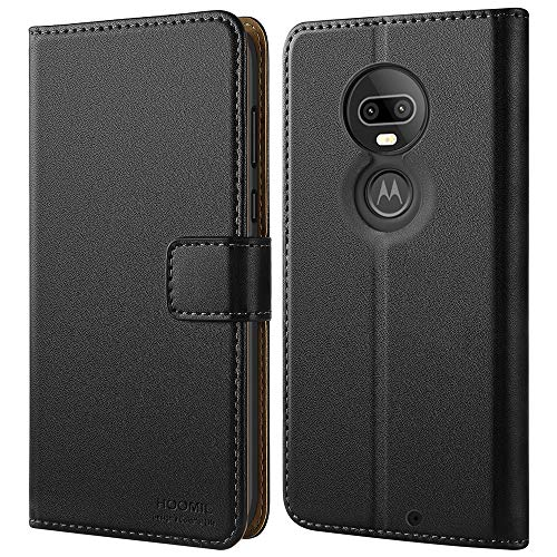 HOOMIL Case Compatible with Moto G7, Premium Leather Flip Wallet Phone Case for Motorola Moto G7 and Moto G7 Plus Cover (Black)