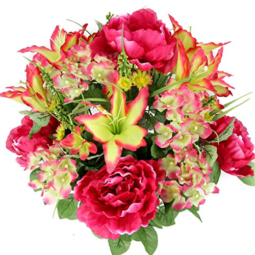 Admired By Nature 24 Stems Artificial Full Blooming Tiger Lily, Peony & Hydrangea with Green Foliage Mixed Flowers Bush for Mother's Day or Decoration for Home, Restaurant, Office & Wedding, -