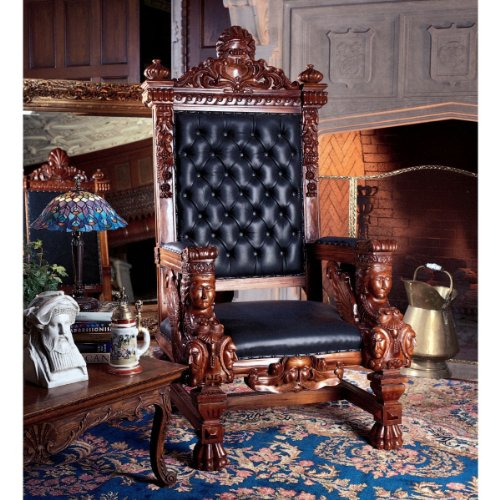 Design Toscano The Fitzjames Throne Leather Arm Chair