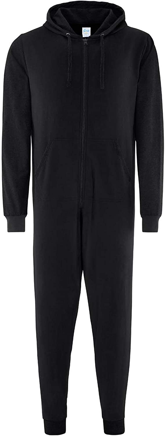 Blank Plain Adult All in One Black//Black 2XL CC003 Comfy Co Contrast All-in-one