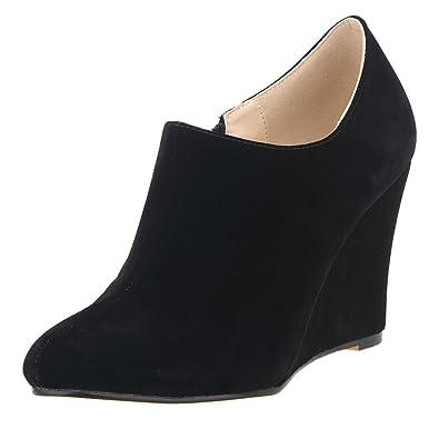 3b09f1c6b7b ZriEy Women s Faux Suede Platform Wedge Bootie Velvet Black Size 9.5