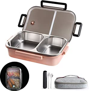 2 Compartments Bento Lunch box with Insulated Lunch Bag and Portable Utensils, Stainless Steel Food Lunch for Kids Adults Men Women