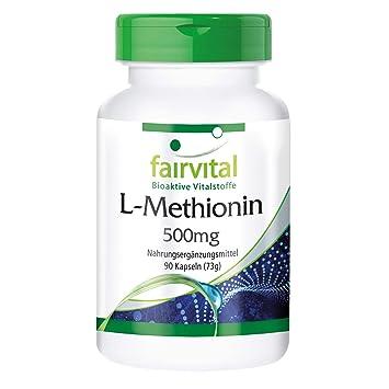 L-Metionina 500 mg - 1 mes - VEGAN - ALTA DOSIS - 90 cápsulas - aminoácido: Amazon.es: Salud y cuidado personal