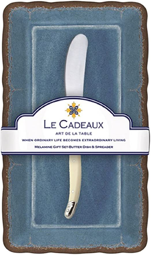 Blue Le Cadeaux Rooster Butter Dish /& Laguiole Spreader Gift Set