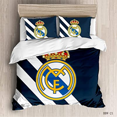 Vampsky Real Madrid Club de Fútbol Teenagers Household Bedding 3 Piece Set With Zipper Closure, 100% Microfiber Soccer Kingdom Team Fanatic 3D Print 1 Duvet Cover 2 Pillow Shams Christmas Bedding, Twi: Home & Kitchen