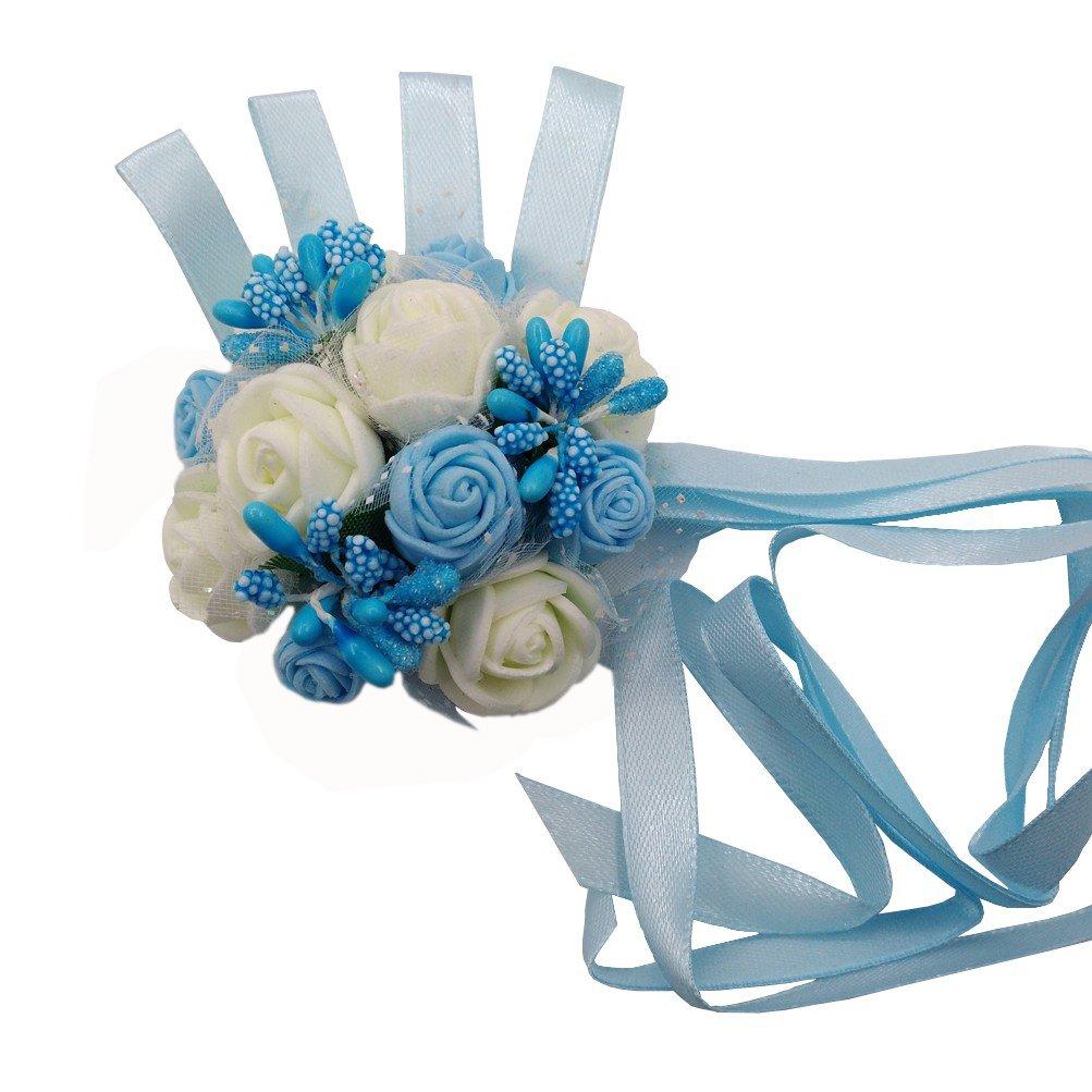 Arlai 1個ブルーブライド手首コサージュウェディング装飾花人工ダンス手花 B078S3ZJ27