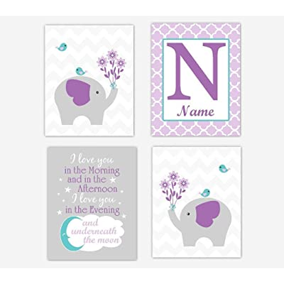 Baby Girl Nursery Wall Art Elephant Purple Teal Aqua Personalized Decor Girl Room 4 UNFRAMED PRINTS: Handmade