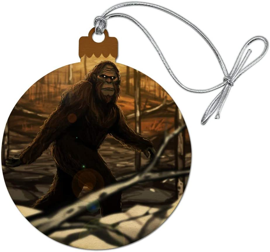 GRAPHICS & MORE Bigfoot Sasquatch Walking in The Woods Wood Christmas Tree Holiday Ornament