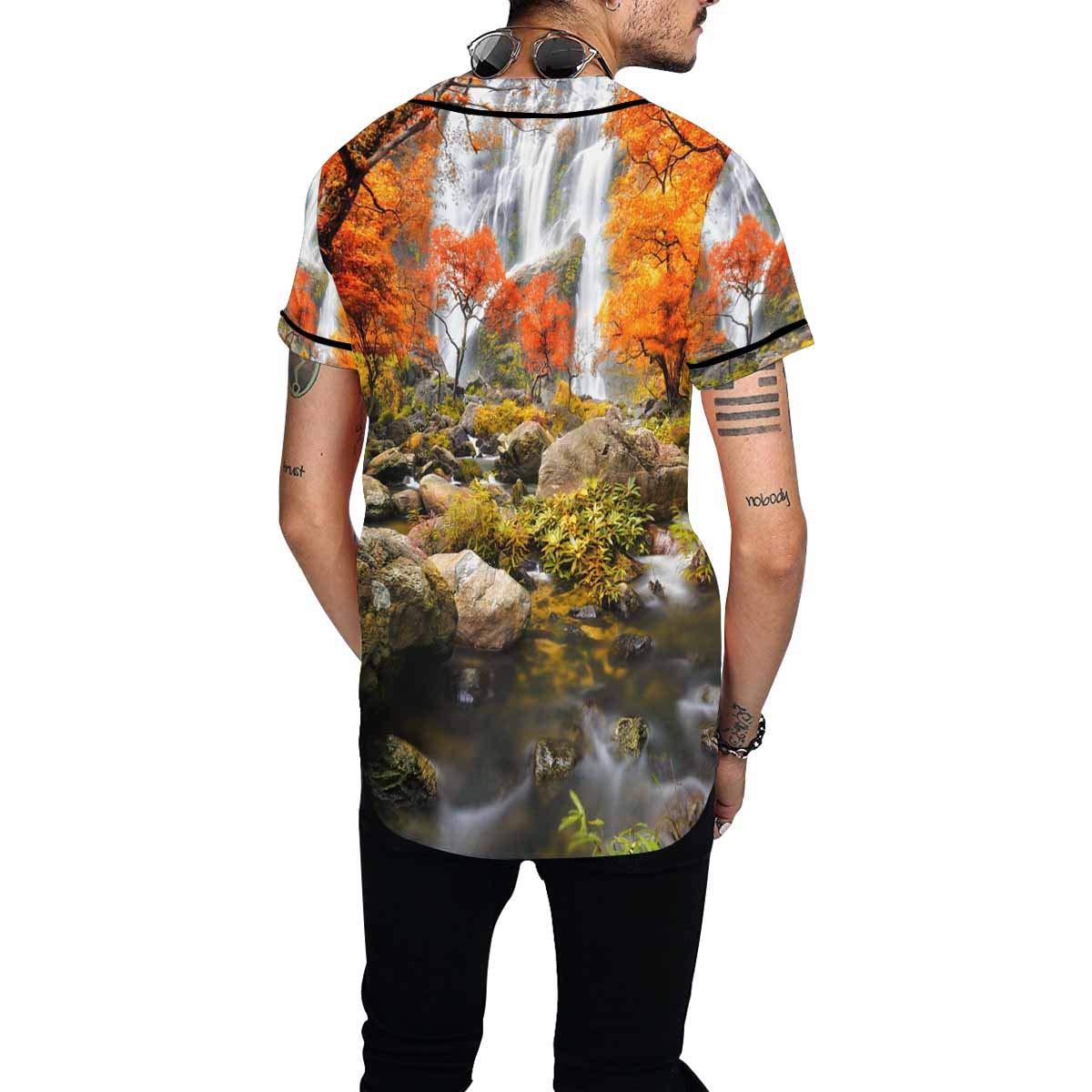 INTERESTPRINT Mens Hipster Short Sleeve Full Button Baseball Jersey Shirts Autumn Landscape Waterfall