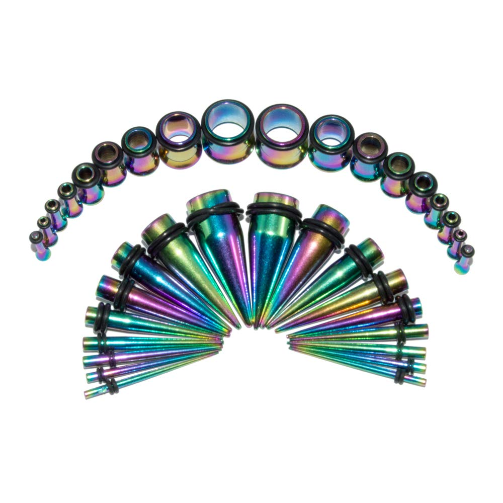 Stainless Ear Stretching Kit Plugs & Tapers Set 36pc Gauges 14g-00g Rainbow BodyJewelryOnline multi-steel-taper-kit
