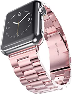HUANLONG Latest Solid Stainless Steel Metal Replacement Watchband Bracelet with Double Button Folding Clasp for Apple Watch, iWatch, Rose Gold, 38 mm