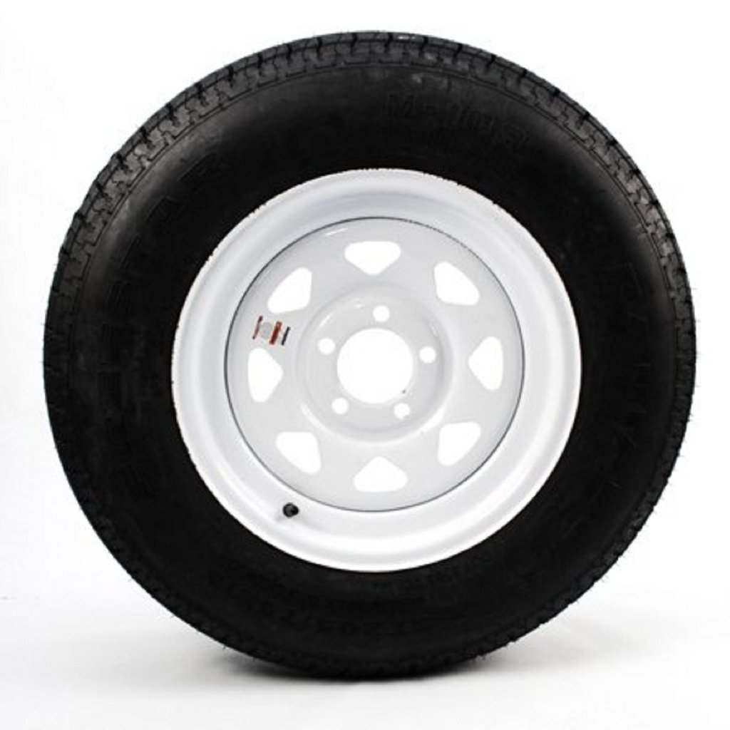 Wheels Express Inc 15'' White Spoke Trailer Wheel with Radial ST205/75R15 Tire Mounted (5x4.5) bolt circle