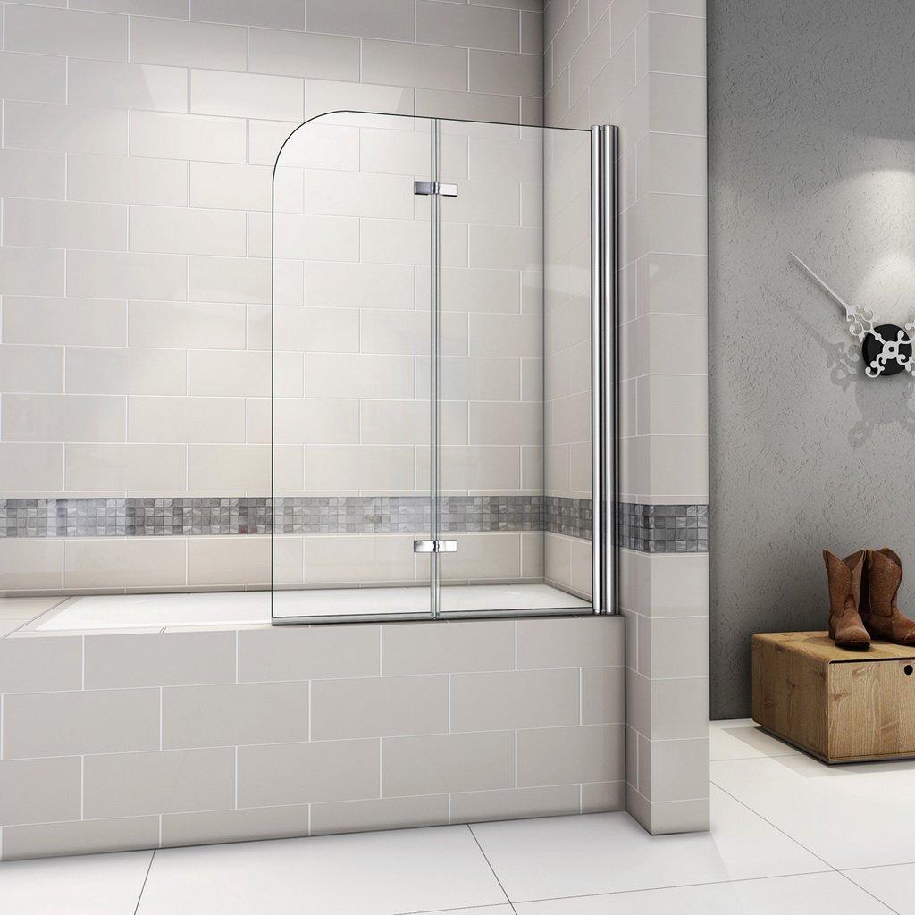 paroi de baignoire porte de baignoire 6mm verre tremp/é anticalcaire 90x140cm Pare baignoire pivotant 180/°