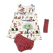 Feitong Baby Infant Girls Woodlands Princess Dress + Shorts Pants + Headband 3PCS Clothes Set