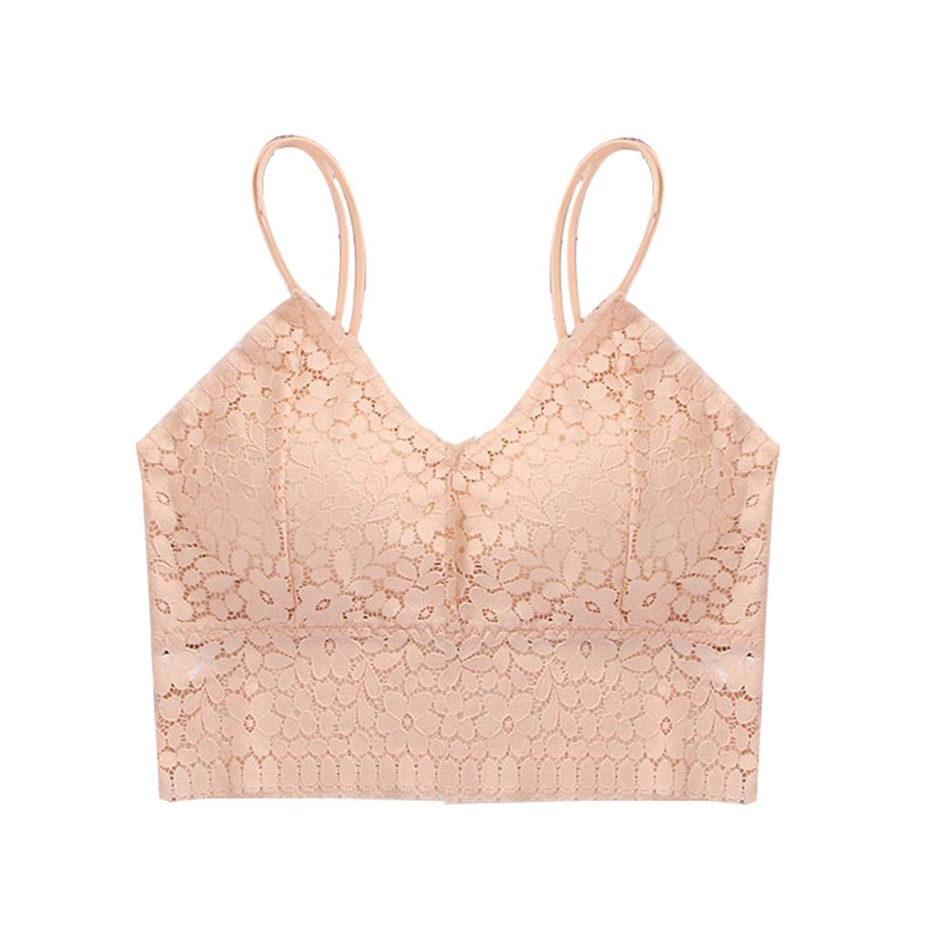 Women Sexy Bra Solid Vest Lace Seamless Breathable Push Up Top Underwear Cotton Briefs - Italian Style Single Charms (Beige One Size)