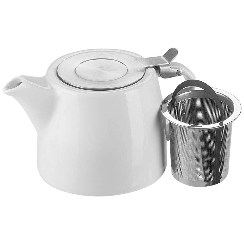 Benail 18 oz Tea pot with infuser and SLS lid Stainless Steel Infuser Ceramic Teapot (White)