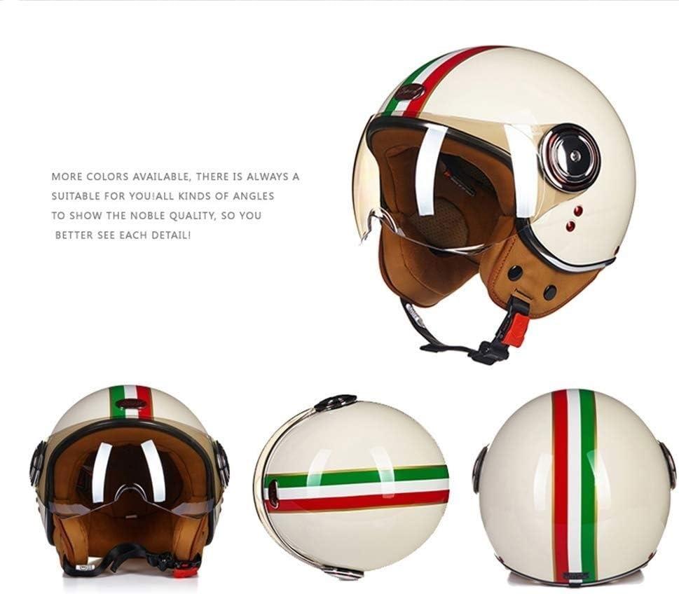 57-58cm Helmets Open Face Motorcycle Vintage Jet Pilot Vespa Cruiser Scooter ECE D.O.T Certified Unisex Harley YSJ Size : L