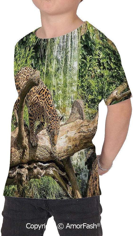 Safari Decor Original Printed Short Sleeve Shirt Size XS-2XL Big,Jaguar cat on a
