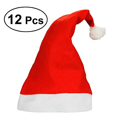 b31834175693f Amazon.com  Tinksky 12pcs Christmas Hat Cute Santa Claus Hat Xmas Cap for  Children Adults Novelty Ornaments Christmas Costume Decoration Kids Gifts   Toys   ...