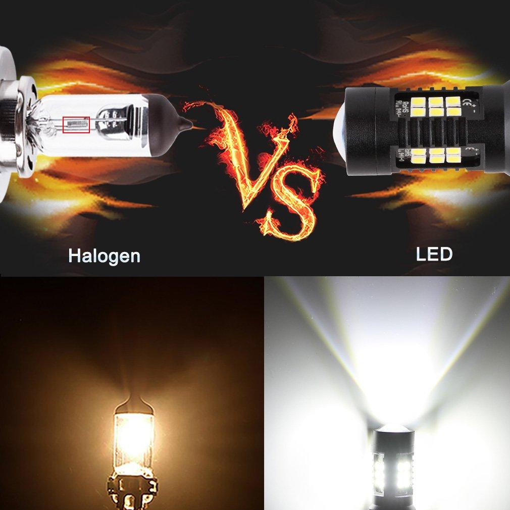 toauto 2 x Bombillas LED 7443 7440 T20 blanco de 6000 K, 1200 lúmenes super brillante 3030 chipsets con proyector, reemplazar para luz de freno trasera, ...