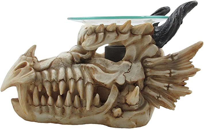 1 X Decorative Snarling Magical Dragon Skull Electric Oil Warmer or Tart Burner for Aromatherapy Essential Scented Oils in Mythical and Medieval Home Decor Lights Halloween Decorations /& Scary Gothic Gifts