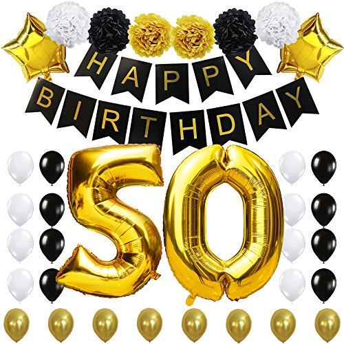KUNGYO 50 Decoración para Fiestas de Cumpleaños- Happy Birthday Pancarta Negro, 40 Pulgadas Globo de Oro 50