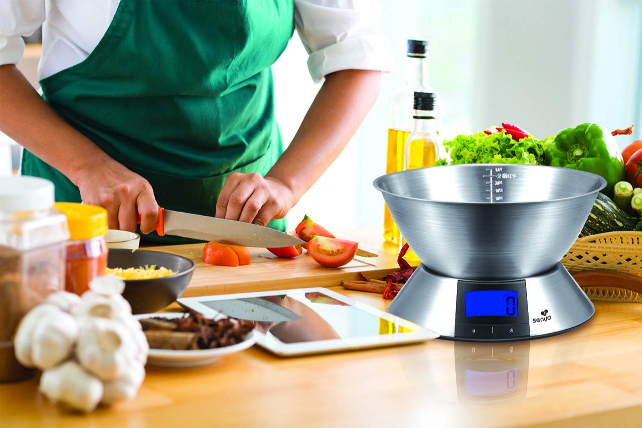 SYCP-KS004 Senya Cuisine en Acier Bol INOX Amovible Balance de pr/écision 1g//5kg Grand /écran r/étro/éclair/é