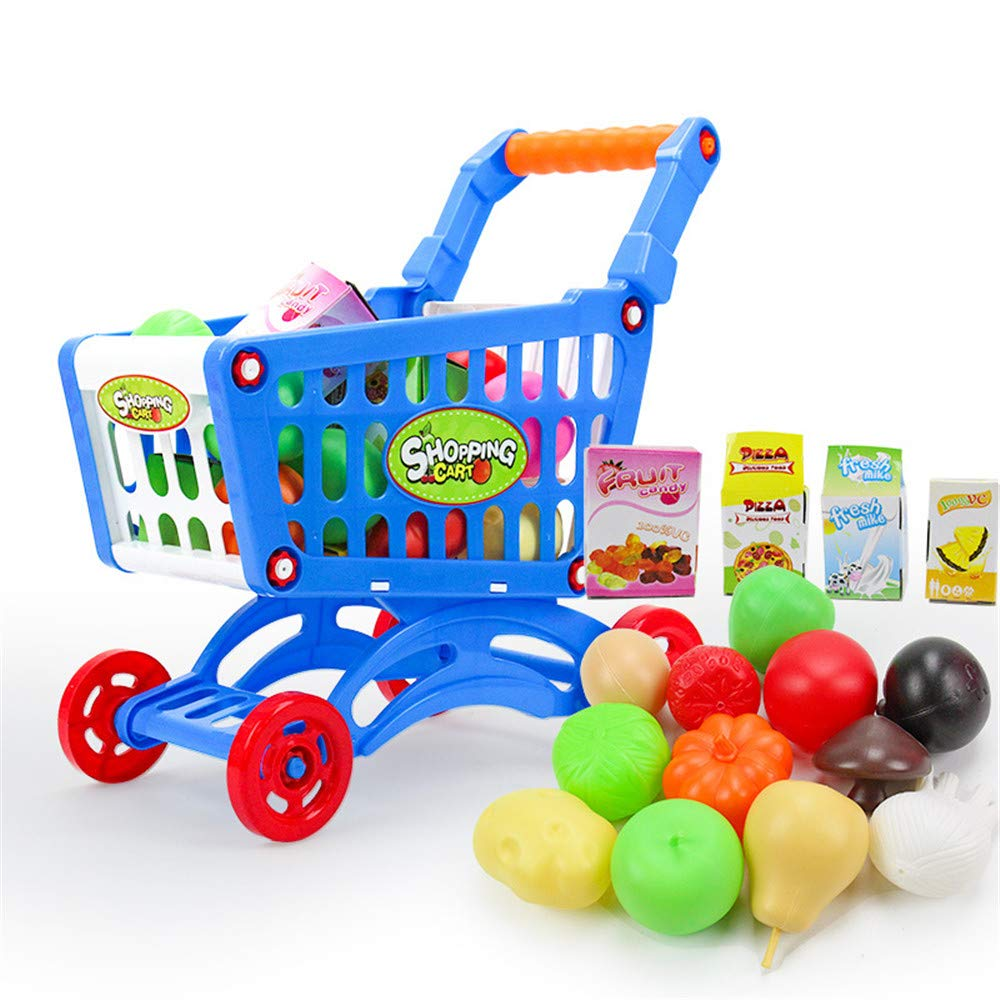 Kids Interesting Interactive Toys Fancy Play Mini Toy Supermarket Shopping Cart Cart with Fruits and Vegetables Educational Toys (Color : Blue)