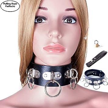 O Rings Restraint Neck Collar Davidsource Bondage Restraint Leather Lockable Collar With Metal Hanging O