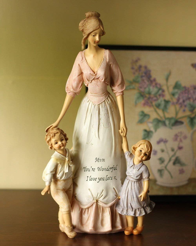 ZJMIQT Escultura Estatua,Madre Cariñosa Y Niños Escultura Ornamental De Embellecimiento Artesanales Accesorios para La Decoración del Hogar El Día De La Madre Regalos De Cumpleaños